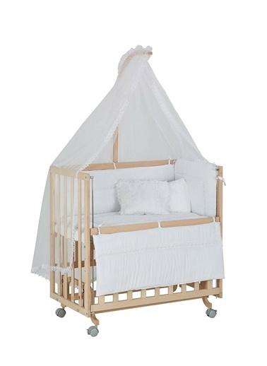 Babycom Naturel Ahşap Boyasız Anne Yanı Beşik 50 X 90 - Tekerlekli - 4 Kademeli Beşik + Kahve Zikzak Uyku Seti Beyaz